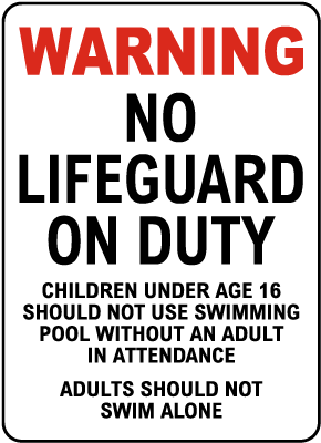 Massachusetts No Lifeguard Sign