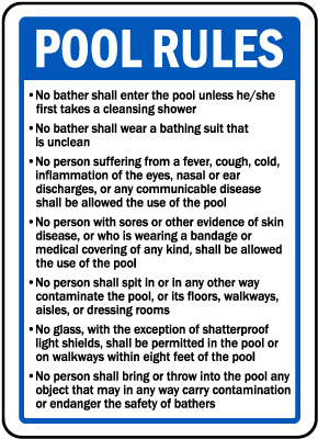 Massachusetts Pool Rules Sign