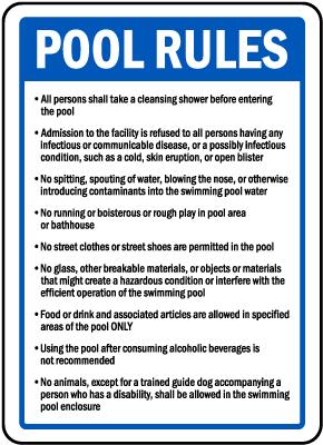Michigan Pool Rules Sign