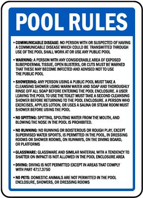 Minnesota Pool Rules Sign