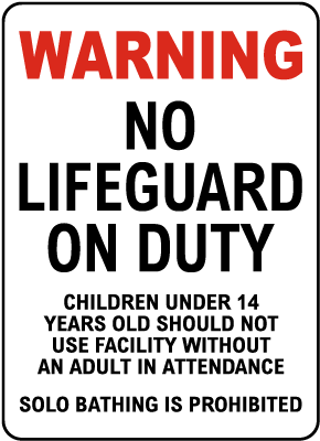 Nevada No Lifeguard on Duty Sign