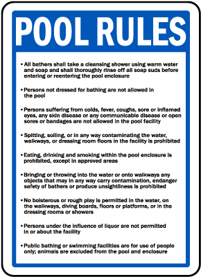 Nevada Pool Rules Sign