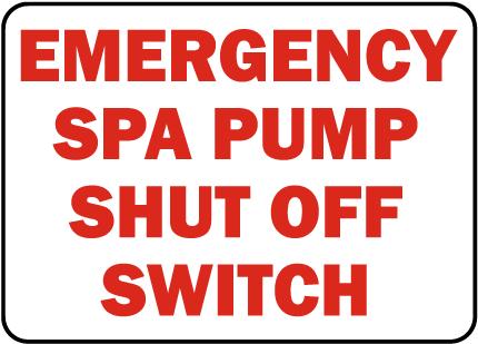 New Jersey Spa Pump Shut Off Sign