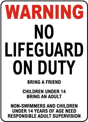 Oregon No Lifeguard Sign
