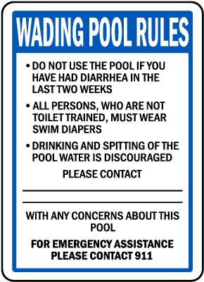 Oregon Wading Pool Rules Sign