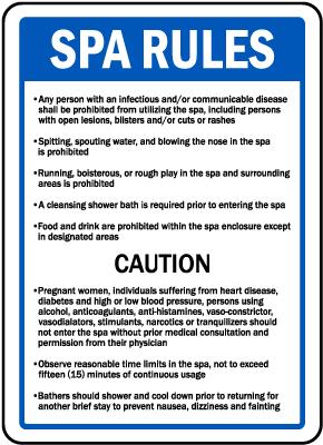 Rhode Island Spa Rules Sign