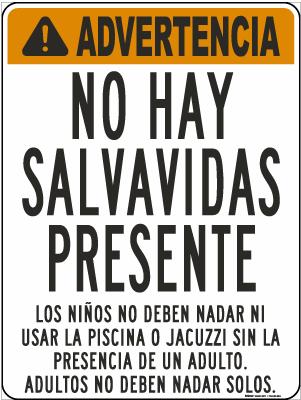 Alaska Spanish Warning No Lifeguard On Duty Sign