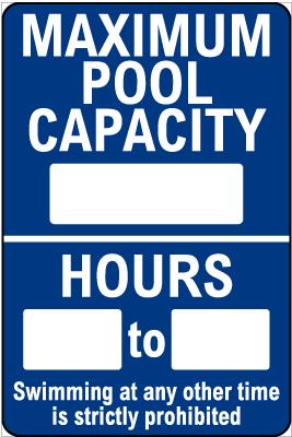 Alaska Maximum Pool Capacity Sign
