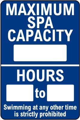 Alaska Maximum Spa Capacity Sign