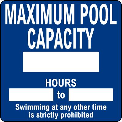 California Maximum Pool Capacity Sign
