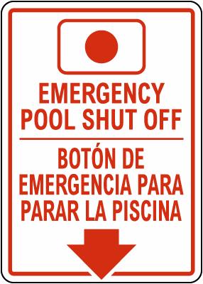 Alaska Bilingual Emergency Pool Shut Off Sign