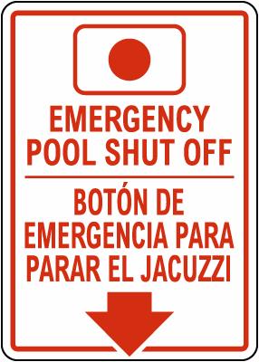 Alaska Bilingual Emergency Spa Shut Off Sign