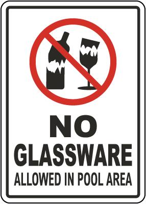 Pennsylvania No Glassware Allowed In Pool Area Sign