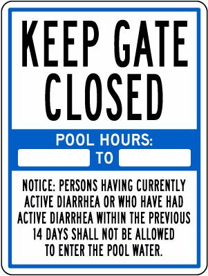 California Keep Gate Closed Pool Rules Sign
