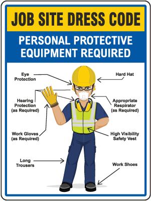 Job Site Dress Code Min. PPE Sign