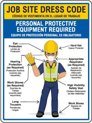 Bilingual Job Site Dress Code Min. PPE Sign