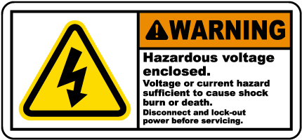 Hazardous Voltage Enclosed Label