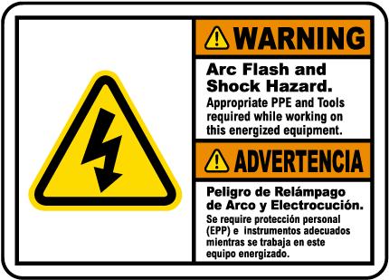 Bilingual Arc Flash & Shock Hazard Label