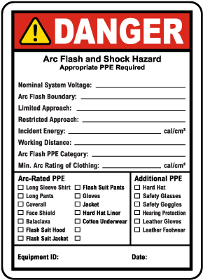 Write-On NFPA 70E Arc Flash & PPE Danger Label