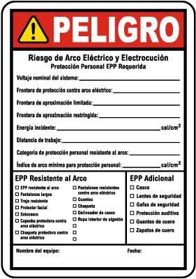 Spanish Write-On NFPA 70E Arc Flash & PPE Danger Label