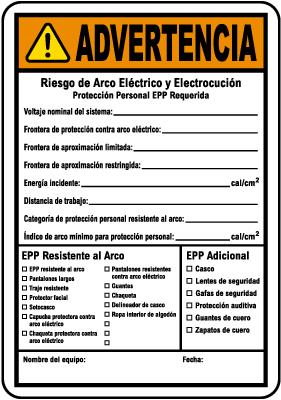 Spanish Write-On NFPA 70E Arc Flash & PPE Warning Label