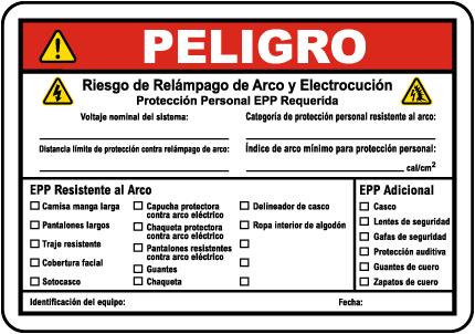 Spanish Danger Arc Flash & Shock Hazard Label