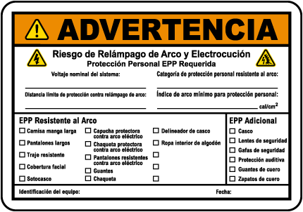Spanish Warning Arc Flash & Shock Hazard Label