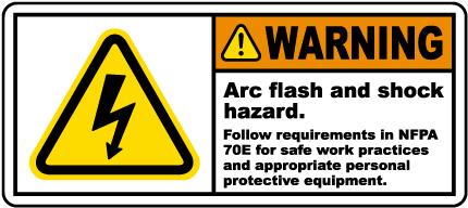 Arch flash and shock hazard follow NFPA 70E.