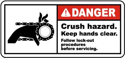 Crush Hazard Keep Hands Clear Label