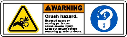 Crush Hazard Exposed Gears Label