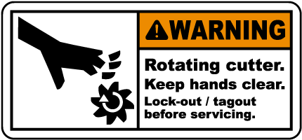 Rotating Cutter Lock-Out Tagout Label