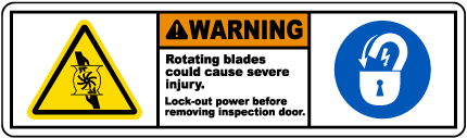 Rotating Blades Lock-Out Tagout Label