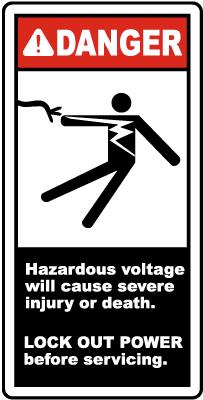 Hazardous Voltage Lock Out Label