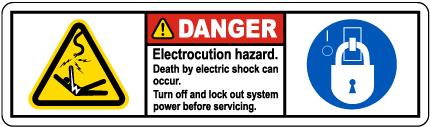 Electrocution Hazard Turn Off Label