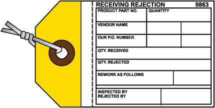 Receiving Rejection Inventory Tag