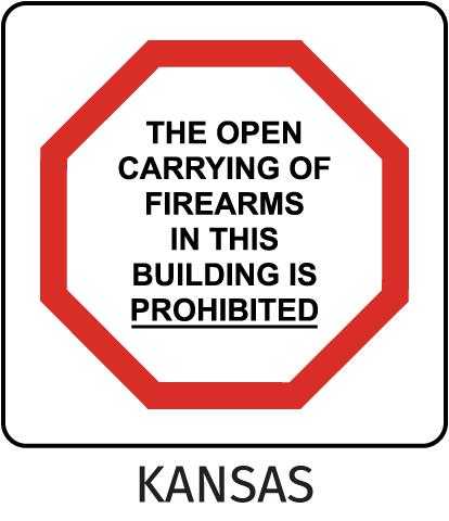 Kansas No Open Carrying Sign