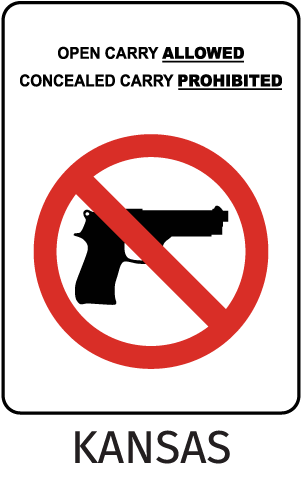 Kansas Open Carry Allowed Concealed Carry Prohibited Sign