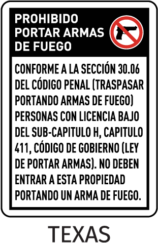 Texas 30.06 Spanish No Concealed Carry Sign