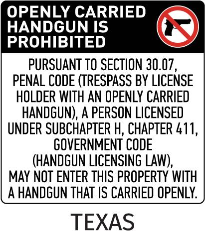 Texas 30.07 No Open Carry Floor Sign