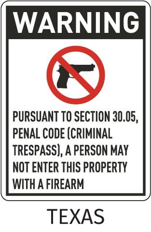 Texas 30.05 No Firearms Allowed Sign