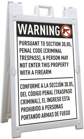 Bilingual Texas 30.05 No Firearms Allowed Sandwich Board