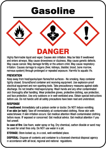 Gasoline Prevention Response Storage GHS Sign