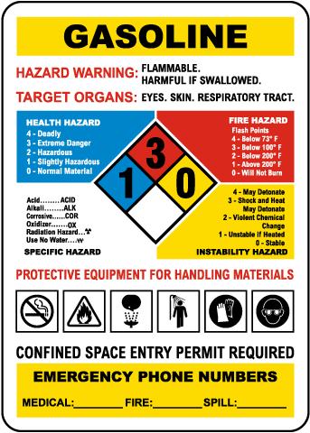 Gasoline Hazardous Material Sign