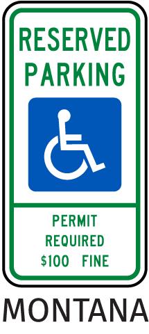 Montana Handicap Parking Sign