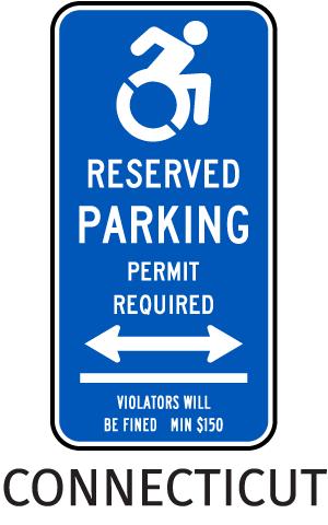 Connecticut Handicap Parking Sign (Double Arrow)