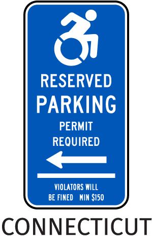 Connecticut Handicap Parking Sign (Left Arrow)