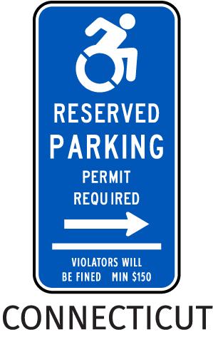 Connecticut Handicap Parking Sign (Right Arrow)