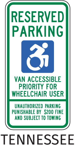Tennessee Handicap Parking Van Accessible Sign