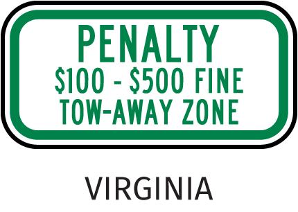 Virginia Penalty Tow Away Zone Sign
