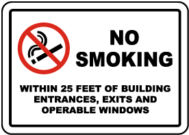 No Smoking Within 25 Feet Sign